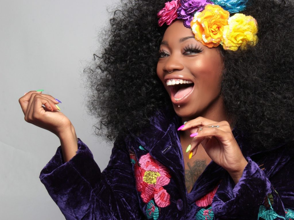 African American Black Woman with Flowers in Her Hair