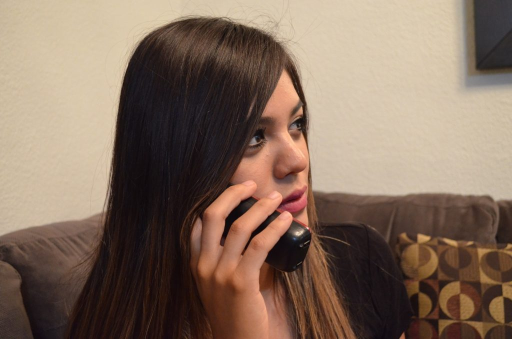 Business Woman Girl on Telephone