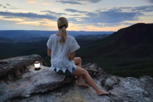 Girl looking at mountain with View
